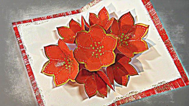 3D tarjeta flor de Pascua rojo preciosa