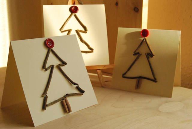 arboles de navidad hechos a mano botones rojos