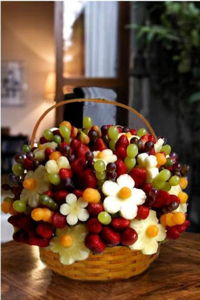 arreglos frutales forma de flores