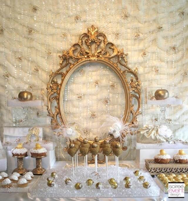 boda de navidad decoración color de oro