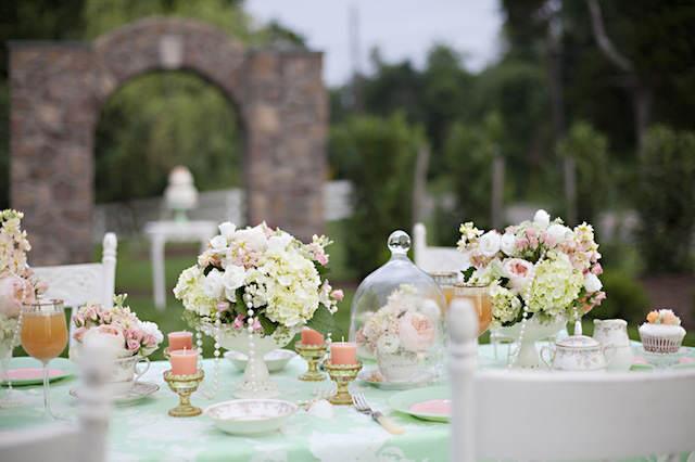 boda decorada elegante colores verde menta rosa