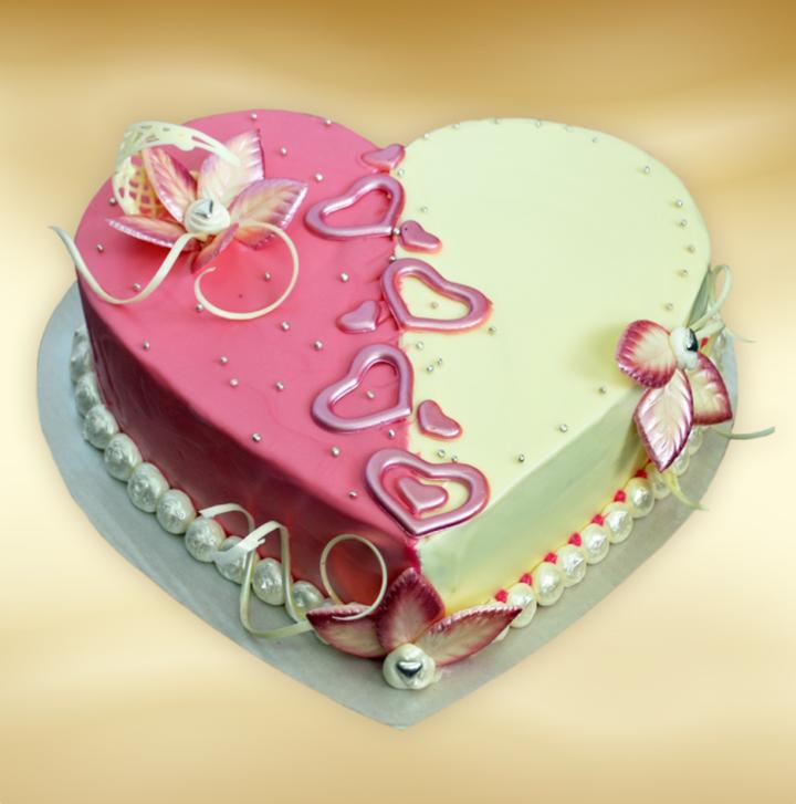 bolos de aniversario forma de corazón