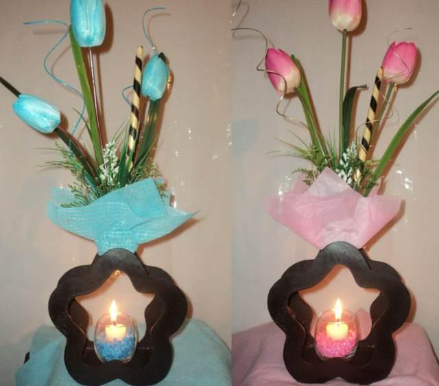 el centro de mesa bautizo color rosa azul