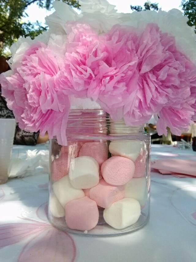 centros de mesa la fiesta bautizo color rosa