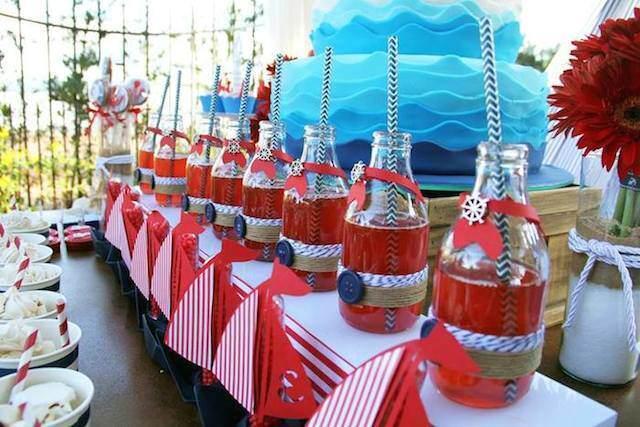 combinación estilo nautico vintage color rojo