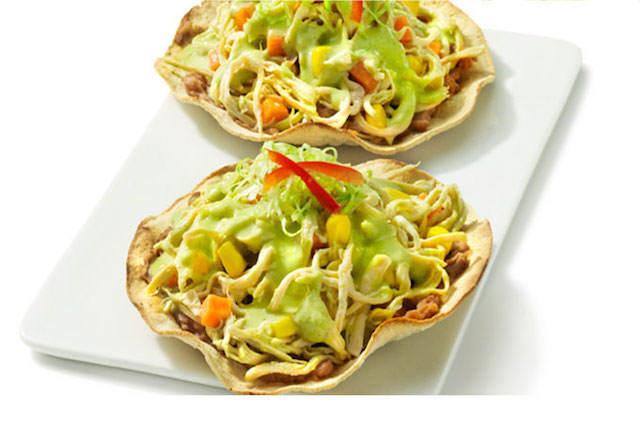 comida mexicana tostadas de pollo temáticas