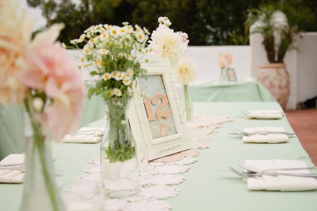 decoración colores rosa menta fiesta jardín
