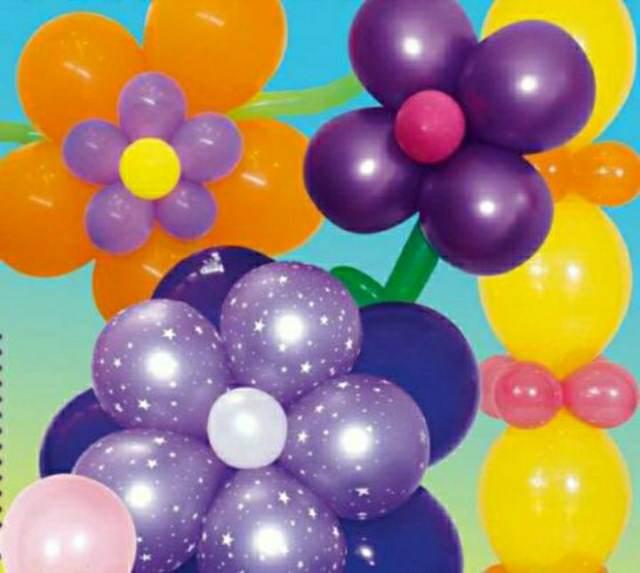 decoracin con globos en forma de flores