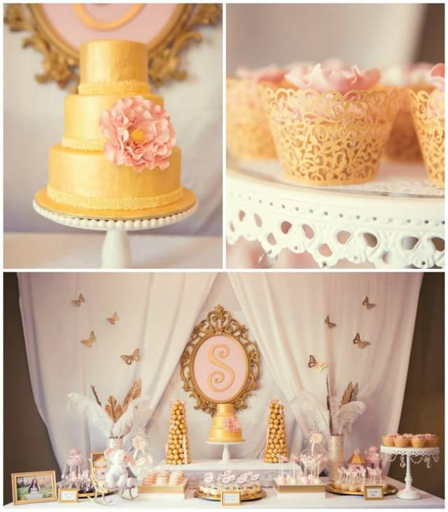 decoración de bautizo pastel mesa decorada en colores de oro rosa blanco