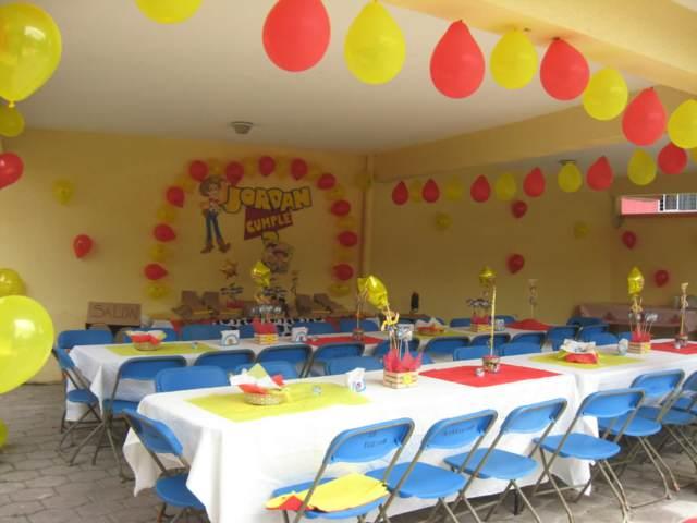 fiestas infantiles globos color rojo amarillo