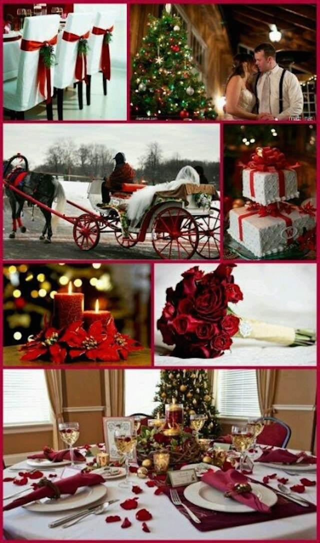decoración entera de boda estilo clásico navideño