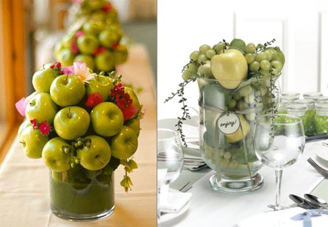 decoración de frutas manzanas