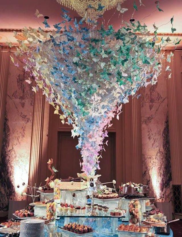 decoración mariposas comida boda de navidad