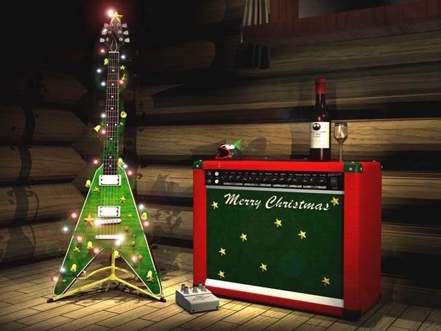 decoración navideña guitarra rock concierto canciones vino