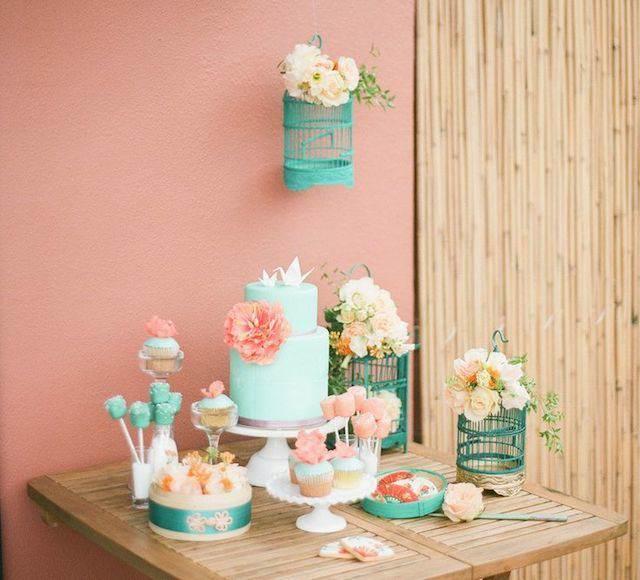 decoración tierna linda colores menta rosa