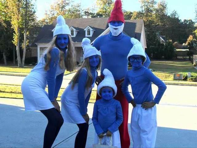 disfraces de Smurfs para halloween entera familia