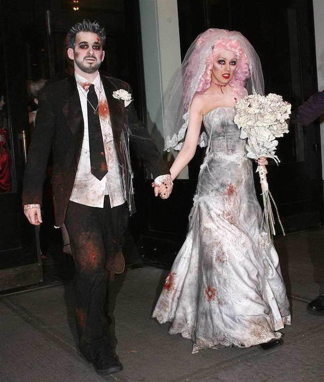 disfraces de Halloween para parejas novia novio como zombie