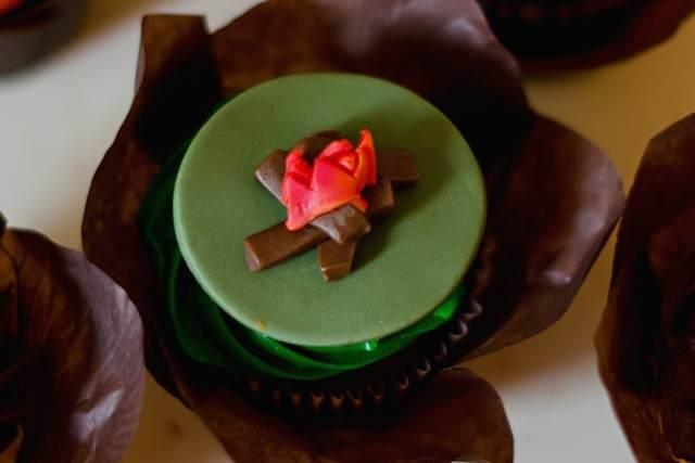 estilo campo magdalenas decorar fuego verde marrón