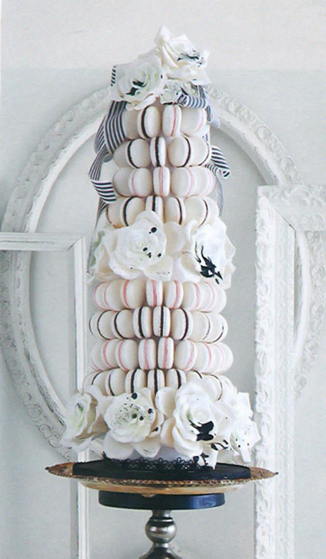 decoración estilo elegante blanco y negro con macarrones