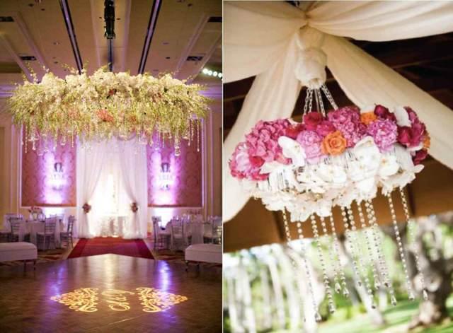 flores colgantes decoración elegante para su fiesta de aniversario
