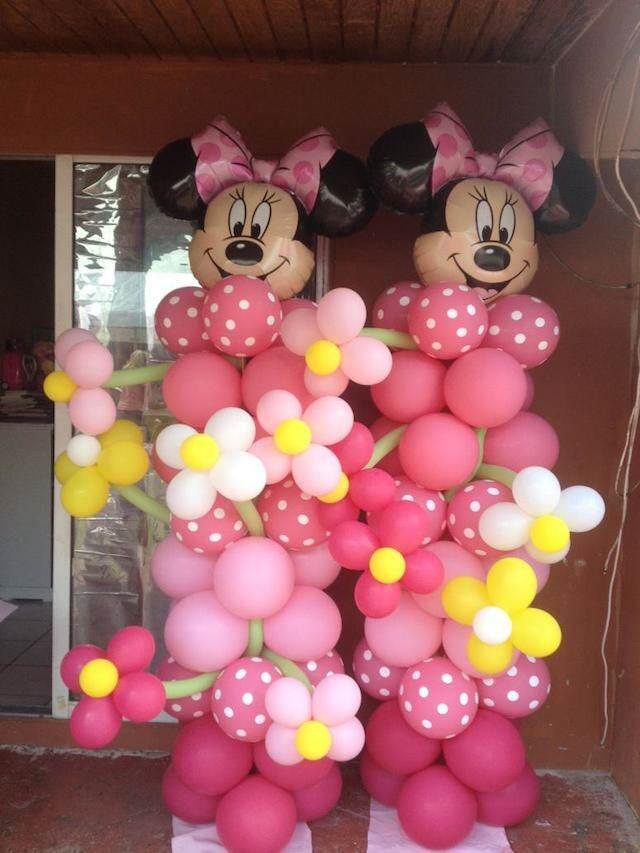 formas globos rojos Mickey Mouse Minnie Mouse niños