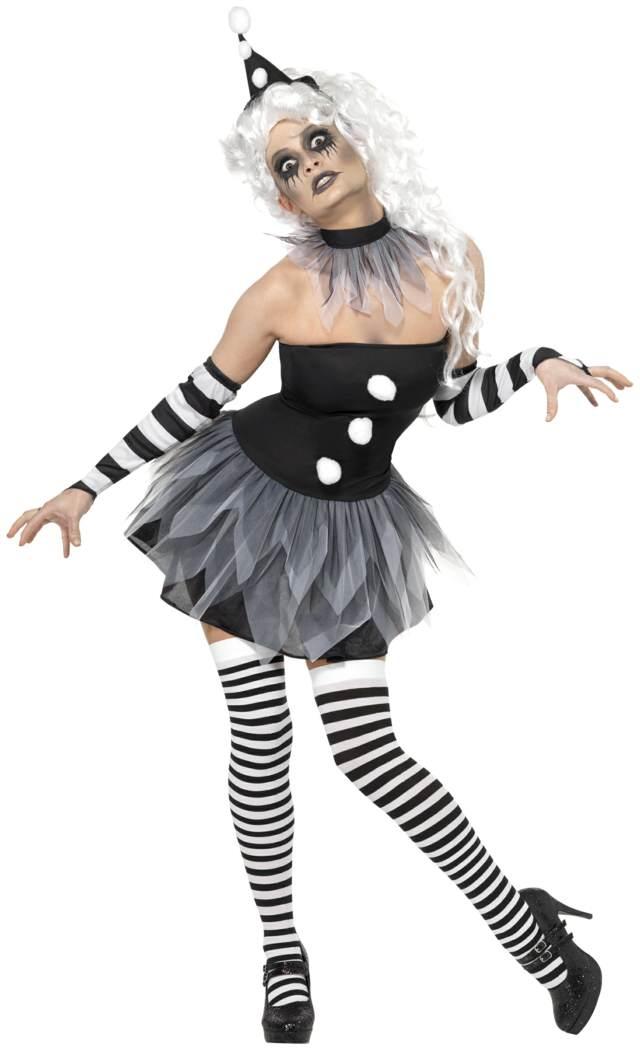 Halloween disfraz de mujer color blanco negro