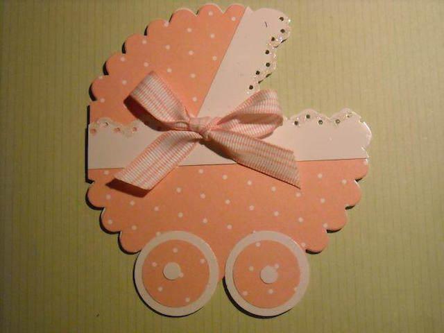 hecha a mano invitación cochecito niña bautizo naranja