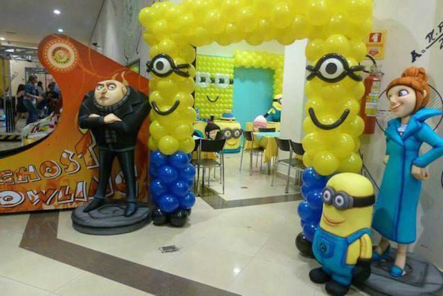 increíbles decoraciones con globos película niños minions