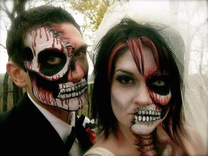 maquillaje interesante de Halloween novia novio zombie