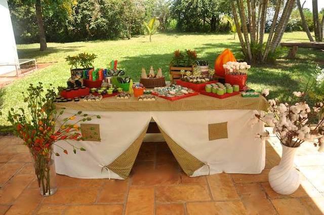 mesa decoración cubierta tienda de campo idea innovadora