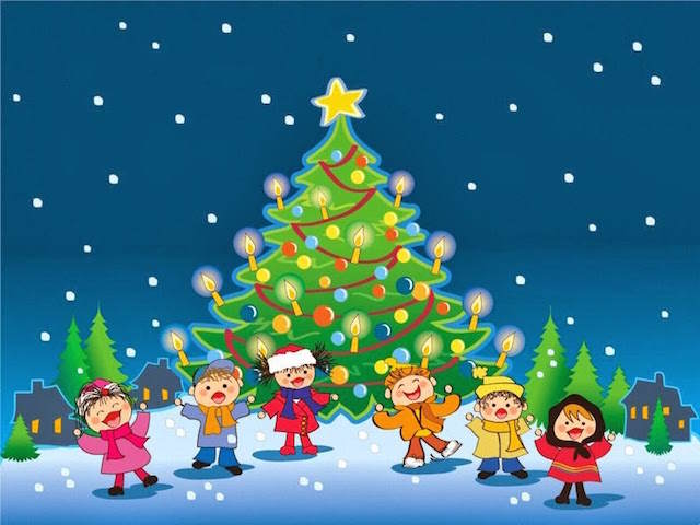 niños cantan villancicos antes árbol da Navidad