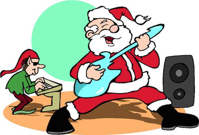 papá Noel guitarra canta concierto canciones de Navidad