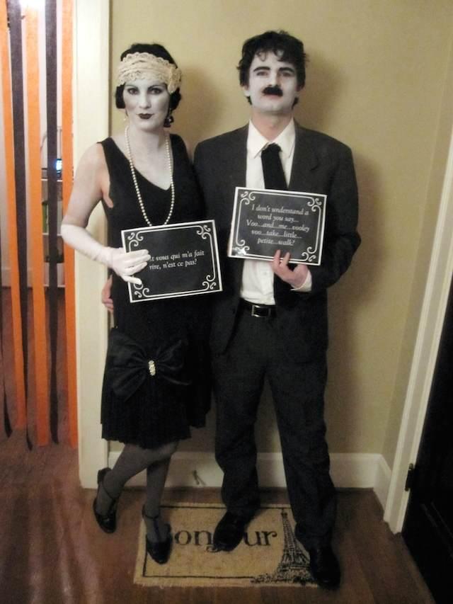 pareja cine mudo clásico disfraces para Halloween