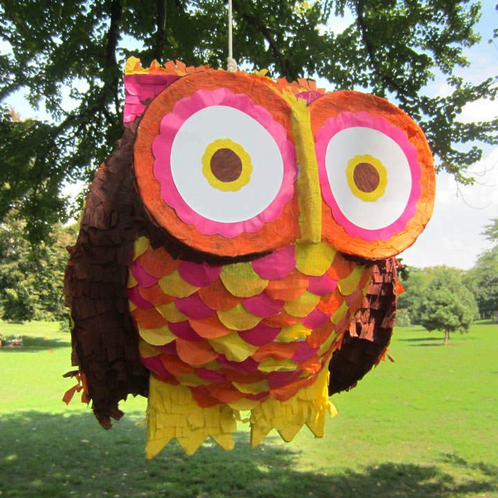 piñata forma búho grande abigarrada no estándar