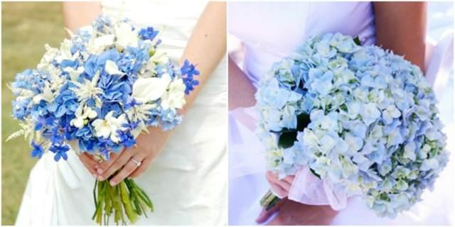 flores naturales para la novia color azul