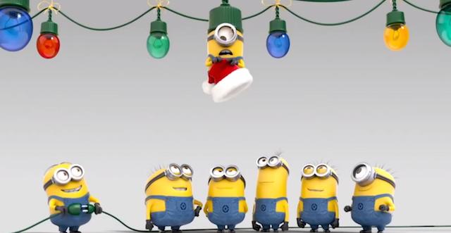 tarjeta moderna divertida Minions festejan Navidad