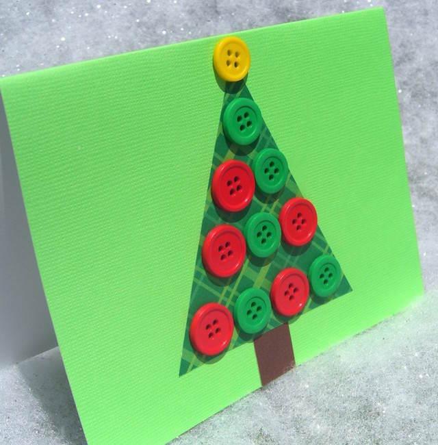 tarjetas de Navidad hechas a mano árbol botones rojos