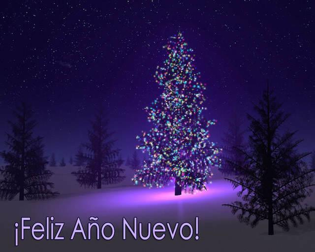 tarjetas elegantes árbol Navidad color lila año