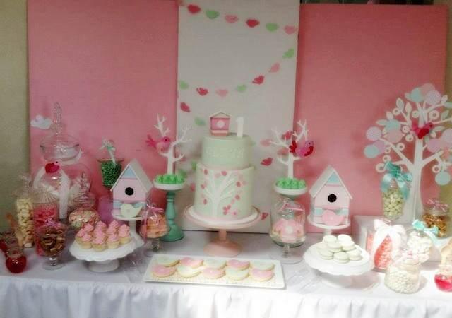 verde menta rosa decoración interesante fiestas infantiles