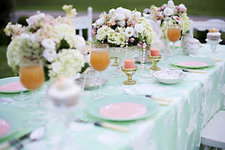 verde menta rosa naranja decoración moderna elegante