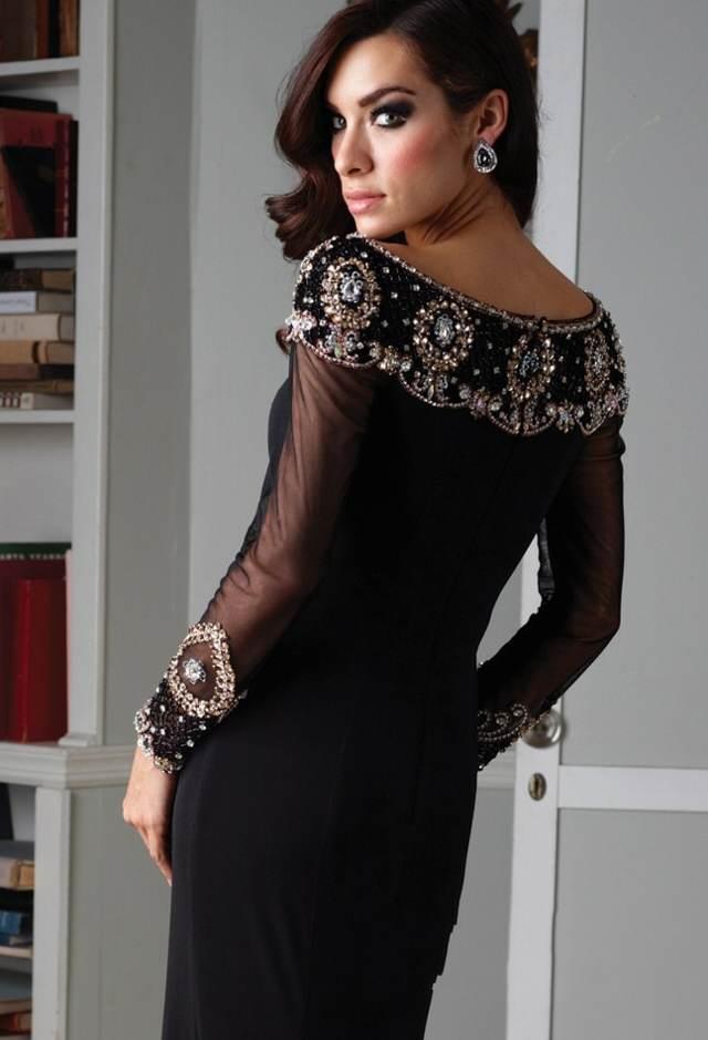 vestido precioso color negro con mangas largas