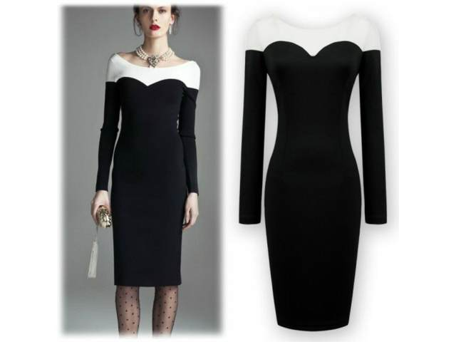 vestido para cóctel elegante en blanco negro
