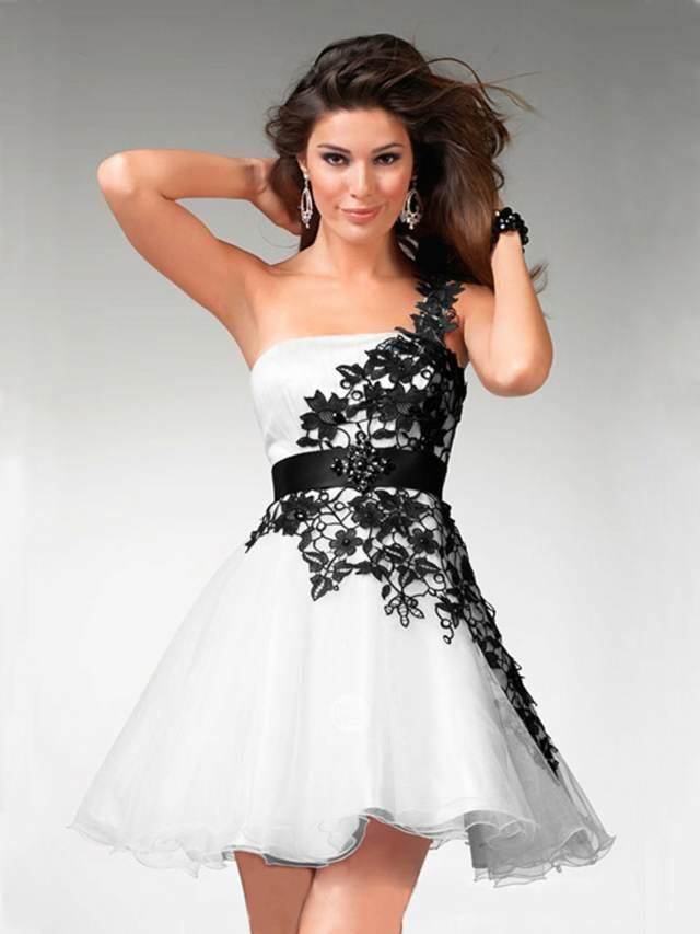 un vestido maravilloso color blanco negro