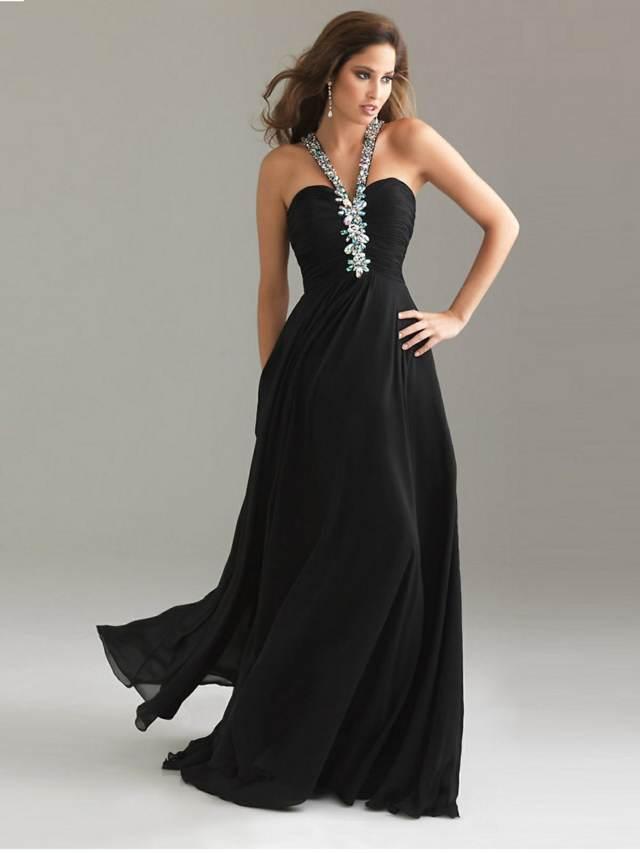 vestido color negro largo elegante