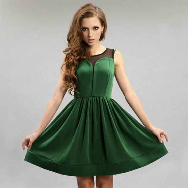 los vestidos cortos de noche color verde