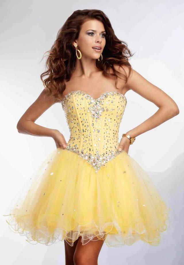 vestidos de 15 años corto color amarillo elegante