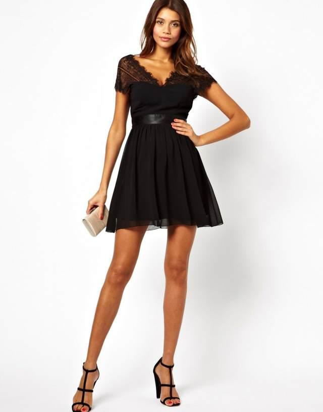 vestidos de graduación color negro elegante unos accesorios