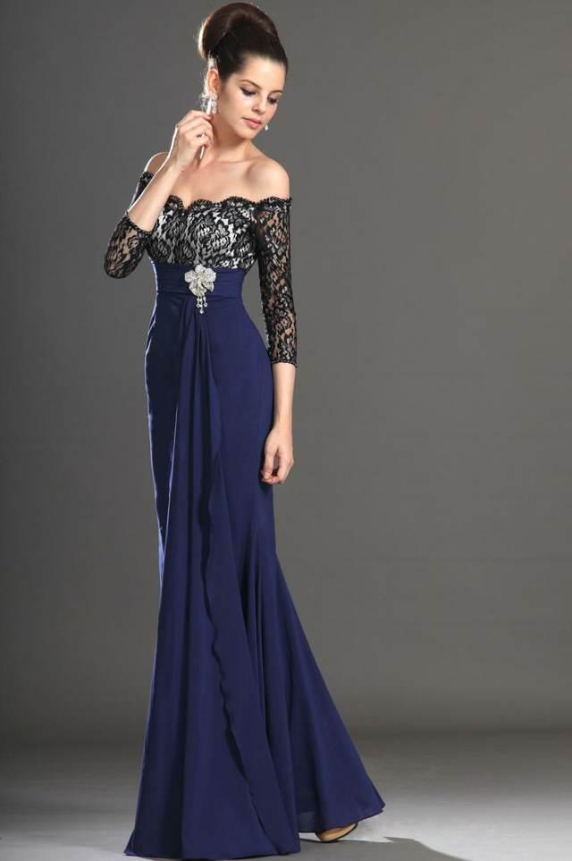 vestidos de noche color azul largo mangas