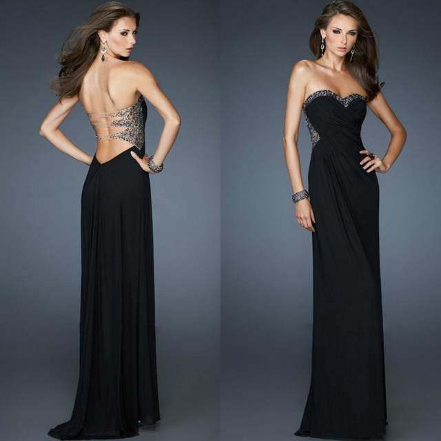 los vestidos de noche negro sexy sin espalda