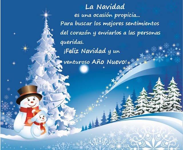 Feliz Navidad venturoso año nuevo frases cariñosas